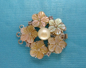 Large Carved Mauve Pink Mother of Pearl Flower Rhinestone Clasp Triple Strands