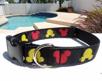 "Dog Collar, Disney Mickey Mouse, Black 1"" wide Quick Release buckle - martingale collar style is cost upgrade"