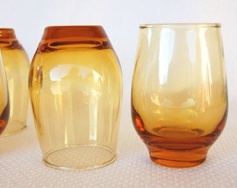 Set of 6 Vintage Libbey Amber Tempo 6 ounce Juice Glasses