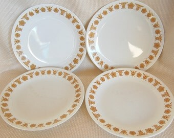 Set of 4 Vintage Corelle Butterfly Gold Luncheon Plates with Gold Flowers and Butterflies Corelle Salad Plates