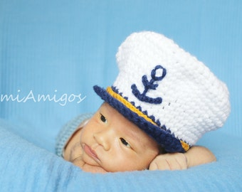 Newborn Crochet Captain Hat