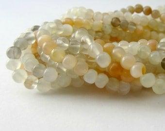 Multi-Color Moonstone, Moonstone Beads, Round Beads, Round Moonstone, White Moonstone, Gray Moonstone, Peach Moonstone 4mm - Full Strand