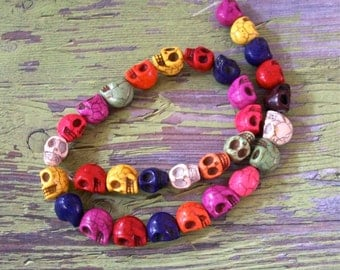 12mm by 10mm Skull Beads Strand Multi Colored Howlite Stone