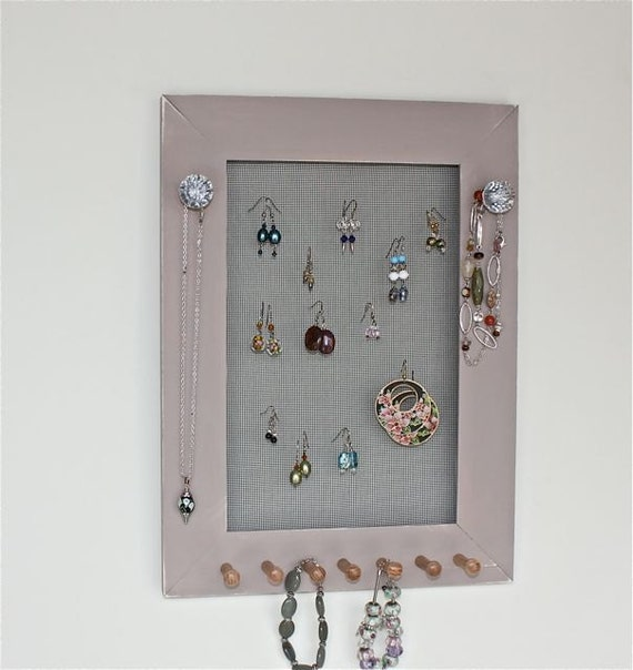 Jewelry frame organizer earring holder wall mounted accessory for Picture frame organization wall