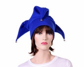 Royal Blue Jester Hat Three Point Joker Style with Bells Court Fool Harlequin Hat