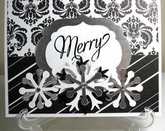 Merry Black and White Handmade Christmas Cards