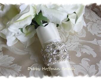 Pearl Bridal Bouquet Wrap, Pearl Rhinestone Crystal Wedding Bouquet Cuff, Pearl Jeweled Bouquet Wrap, Cuff, No. 4040BW, Bridesmaid Gift