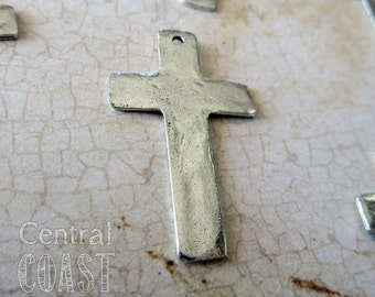 Rustic Old World Hammered Pewter Ancient Cross Charm Pendant - Antique Silver - 32mm x 20mm - Central Coast Charms