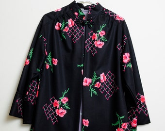 Vintage 60s/70s Retro Floral Print Ethnic Long Sleeve Japanese Style Top