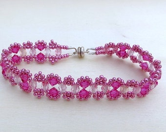 Beaded Chain Bracelet in Pink Colored Combination