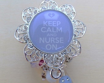 ID Badge Reel Nurse On Digital Image Pendant tray Retractable Badge Holder with Coordinating Mixed Beads and Charm