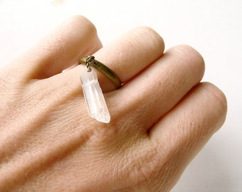 White transparent crystal clear quartz ring ice queen ( brass antiqued, white, snow, goddess ) 02
