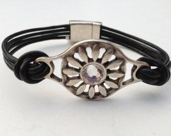 Sunburst Leather bracelet