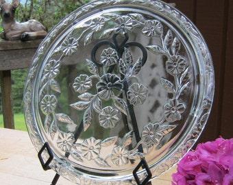 Mid Century Large Floral Cake Plate Platter - Wedding Decor - Table Centerpiece - Oak Hill Vintage