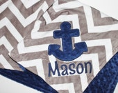 PERSONALIZED DOUBLE MINKY Nautical Blanket or Lovey with Name and Anchor in Gray, White and Navy
