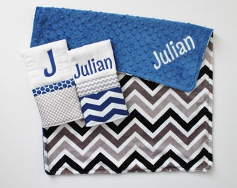 Personalized DOUBLE MINKY CHEVRON Baby Boy Stroller Blanket Plus 2 Burp Cloths - Royal Blue and Gray