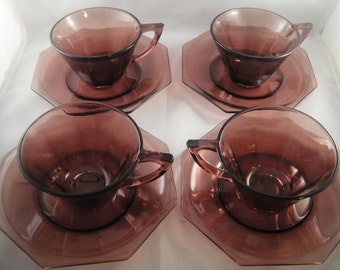Moroccan Amethyst Cups and Saucers Set of Four 4