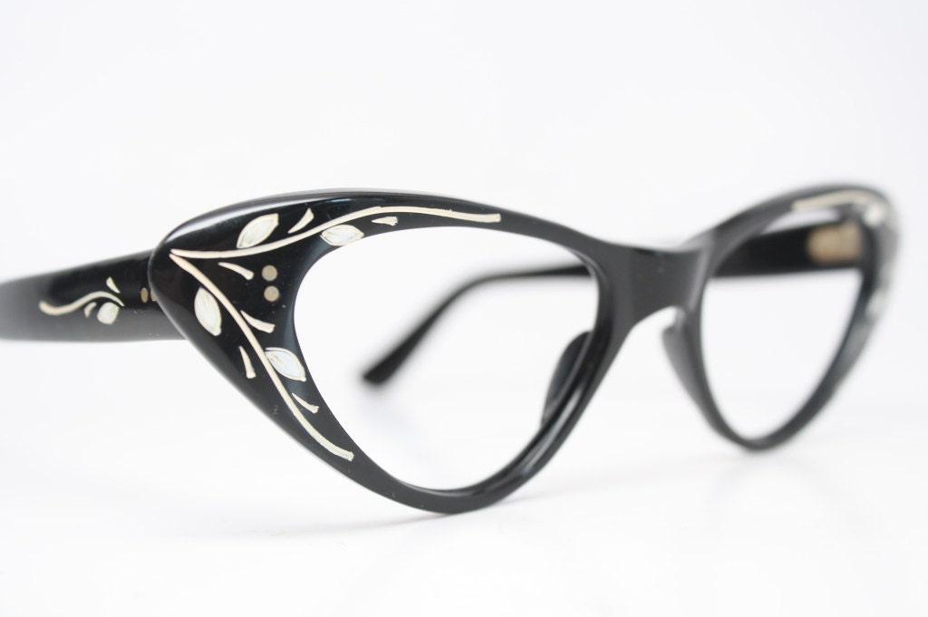 black floral cat eye glasses vintage cateye frames eyeglasses