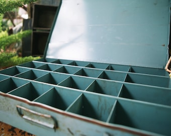Sturdy Blue Green Steel Organizer Box, 24 Compartments: Heavy Duty Metal Drawer Organizer Tray for Tools, Art Supplies- Distressed Patina