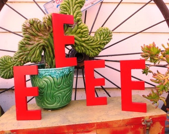 Vintage Marquee Sign Letter Capital 'E': Bright Red Wall Hanging Initial -- Reclaimed Industrial Advertising Salvage