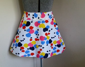 Vintage Novelty Print Hearts Mini Skirt