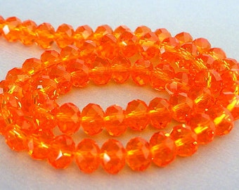 20 orange 8mm beads, sparkly orange rondelles, Chinese crystal