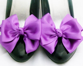 Purple Shoe Clips Pinup Burlesque Satin Bows for Shoes 1 pair Retro Vintage Style by Seriously Sassyx