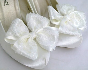 Ivory ShOe CliPs Satin and Lace Bows for Shoes Heels or Flats Bridal Wedding Pinup Burlesque by Seriously Sassyx