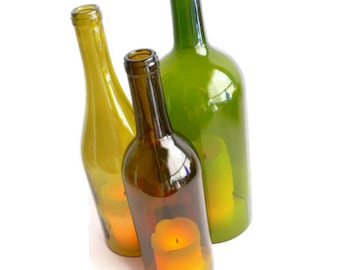 Triple Colored Wine Bottle Candle Holder Centerpiece Hurricane Lamp