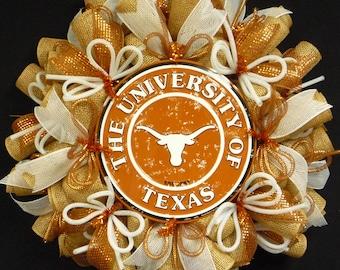 College Teams, Texas Longhorns, Poly Mesh Wreath, College Football, Mesh Supplies