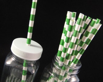 Kelly Green Sailor Stripes  Paper Straws, Mason Jar Straws, Weddings, Birthday Party, Baby Showers, Retro Paper Straws - QTY 12