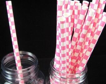 Pink Checked  Paper Straw, Mason Jar Straws, Weddings, Birthday Party, Baby Showers, Retro Paper Straws - QTY 12