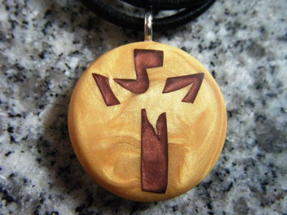 Cross with dove hand carved on a polymer clay light gold color background. Pendant comes with a FREE 3mm Necklace