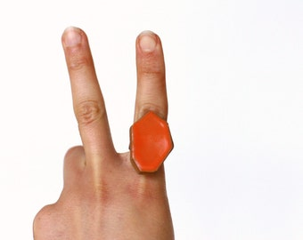 Geometric Pottery Ring- Juicy Orange