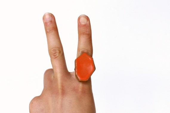 Geometric Pottery Ring- Juicy Orange