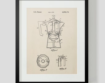 French Press Coffee Kitchen Patent Print 4