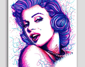 Pop Art Marilyn Monroe Poster 18x24 inch Signed Art Print Colorful PopArt Drawing Long Live The Legend Home Decor Wall Art