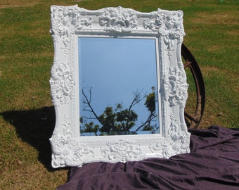 BAROQUE Mirror,White Mirror, Chunky Ornate Wall Mirror, Shown in White or Choose Color  37 1/2   x 33 1/2 INCHES WIDE