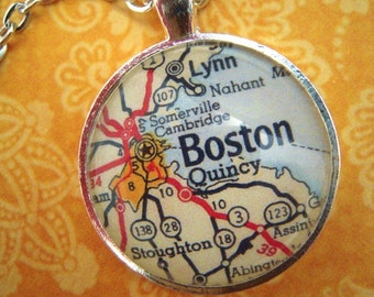 Custom Map Jewelry, Boston Massachusetts Vintage Map Pendant Necklace, Personalize Map Jewelry, Map Cuff Links, Groomsmen Gifts