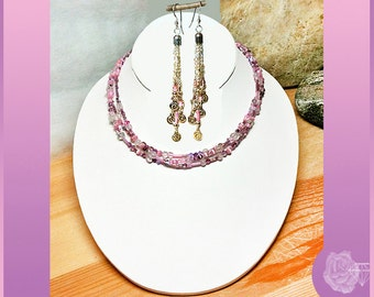 "43"" Necklace Pink and Purple Seed Beads Catseys Gemstones Crystals Wrap Necklace Silver Toggle Clasp And/Or Sterling Silver Dangle Earrings"