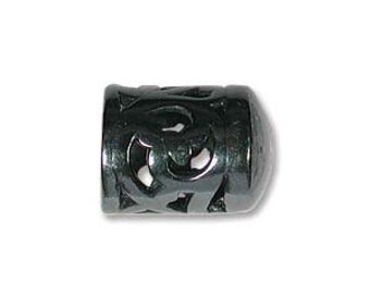 End Cap-6mm Ornate-Gunmetal-Quantity 2