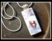 ICE SKATING in the PARK - Recycled Broken China Plate Necklace