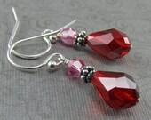 Pink Red Crystal Bali Sterling Silver Earrings Rose Light Siam