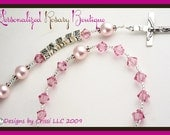 Pink Crystal Personalized Rosary, Baptism Christening First Communion Confirmation Religious Gift, swarovski pearls