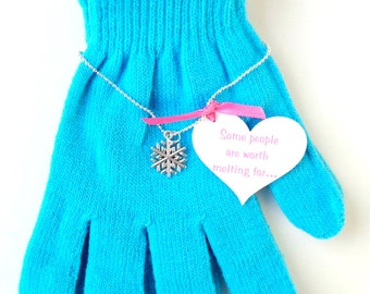 Frozen Favors - Snowflake Necklace with quote and Elsa's Aqua Gloves