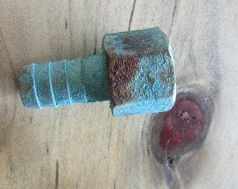 Copper Valve w Homemade Blue Verdigris Assemblage Hardware - Altered Art Supply