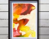Abstract Watercolor Art Print - Red Yellow Original Design - Fine Art Custom Painting - Autumn Leaves- 13x19 / 17x22 / 20x30