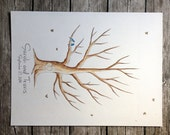 Wedding Guest Book Tree Thumb print. Water Color Illustration Custumize 16x20""