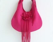 deep pink leather handbag, shoulder purse, with fringe and detachable rose flower, by Tuscada. Ready to ship.