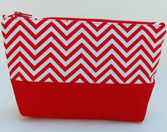 Red Chevron Make Up Bag, Red Cosmetic Bag, Red Chevron Zippered Pouch, Chevron Pencil Case, Bridesmaid Gift